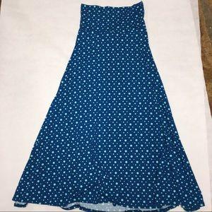 LuLaRoe Maxi Long Knit Skirt XS Polka Dot Teal